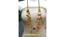 Bcbali 3 Strand Necklace Beaded mixed Shells Nuget