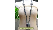 Fancy Layered Necklace Beading with Stone Pendant