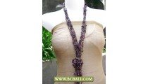 Bcbali Long Necklace Beading with Rose Pendant