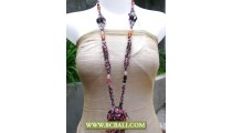 Bcbali Multi Beaded Layer Necklace with Stone Pendant