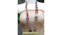 Wrap Long Braided Necklace Beads Coloring