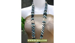 3 Color Beaded Long Necklaces Fashion