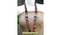 Cute 3 Color Beads Long Necklaces Fashion