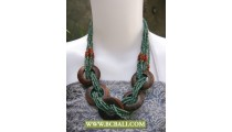 Turqouise Beaded Wrap mixed Wooden Fashion Necklace