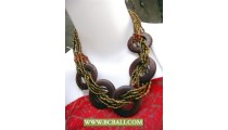 Bcbali Golden Beaded Wrap Wooden Necklaces