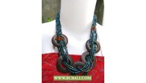 Paua Beaded Wrap Wooden Necklaces