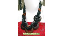Cute Style Black Beaded wrap Wooden Necklaces