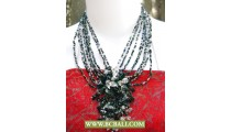 Black and White Beaded mix Stone Necklaces Chockers Fashion