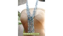 Fashion Necklace Long Braided Beads Glass Pendant
