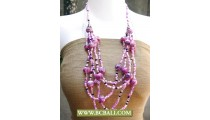 5 Strand Beading and Pearls Stone Necklaces
