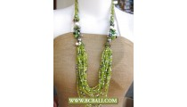 Green Beaded Fancy Design Necklace Long Braided