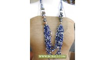 Bcbali Blue Squins Layered Necklaces mixed Shells