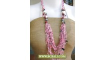 Pinky Fancy Design Necklace Beaded Long Braided Fashion