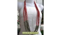 Fancy Long Braided Necklace Red Beaded mixed Metal
