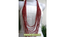 Bcbali Red Layered Multi Strand Beaded Necklaces