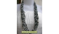 Black and White Long Braided Necklaces Beaded