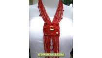 Multi Strand Glass Reds Beaded Pendant Fashion Necklaces