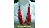 Cute Style Multi Strand Red Beads Necklace
