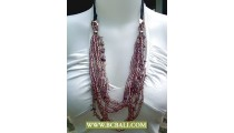 Beads Glass Multi Strand Fashion Necklace Rope