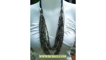 Bcbali Golden Multi Strand Rope Necklace Beading