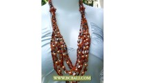 Bcbali Pearls and Shells Multi Layer Beading Necklaces