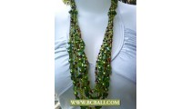 Green Layered Necklaces Beaded