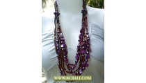 Bcbali Purple Beads Necklaces Layer