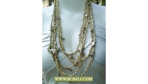 Natural Bead mix Chain Necklace Layered