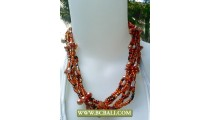 Wrap Beaded mix Orange Pearl and Shells Fashion Necklaces