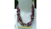 Coloring Beads Fashion Necklace combain Purple Pearl and Shells