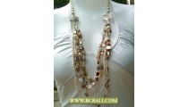 White Squins Multi Strand Necklaces