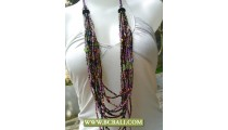 Beads Glass Necklace Multi Strand