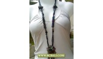 Fancy Long Braided Beads with Stone Pendants Necklaces