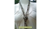 Bcbali Long Braided Necklaces Squins with Rose Pendants