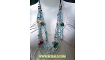 Blue Layered Beading Necklaces