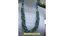 Blue and White Squins wrap Necklace with Blue sky cloth