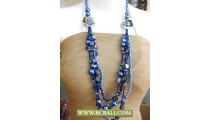 Blue colors Shells and Pearls Beading Necklaces Fashion