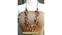 Brown Stone mix Squins Fashion Necklaces