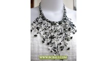 Squins Fashion Necklaces Casandra Black and White with Stone