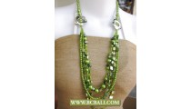 Green colors Shells, Pearls and Beaded fashion Necklaces