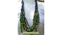 Green Pearls and Shells Necklaces Fashion Beaded