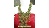 Green Beaded Casandra Fashion Necklace with Stones