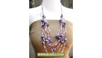 Mix Squins and Purple Stone Necklace Fashion