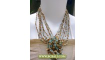 Cute Style Necklace Chockers Beaded with Stone Pendants