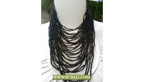 Multi Strand Beads Necklace Black colors with Buckle