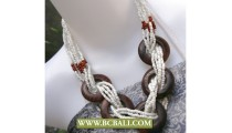 Wrap Beaded White mixed Wooden Necklaces Fashion