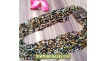 Bcbali Multi Strand Beaded Necklaces with Buckle Wood