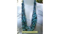 Pearls Blue and Shells Nugets Fashion Squins Necklaces