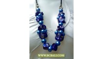 Pearls and Blue Shlells Nugets Fashion Necklace
