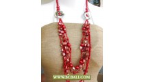Pearls and Shells Red colors with Beading Necklace